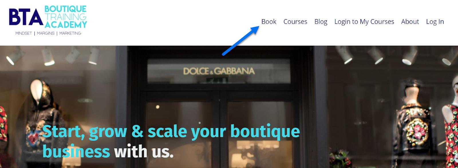 Screenshot of the Boutique Training Academy website