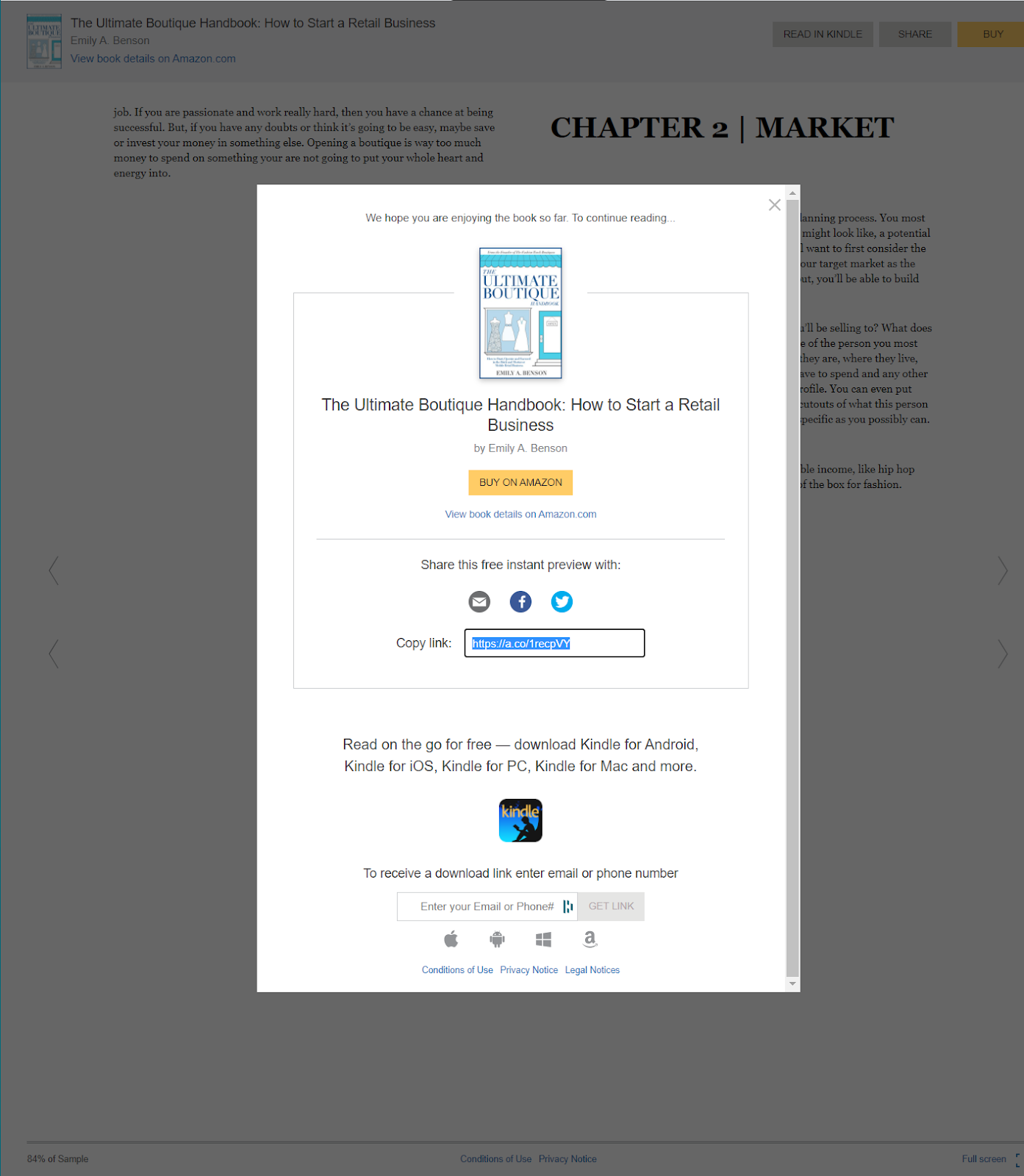 Screenshot of a website asking visitors to buy the book Ultimate Boutique Handbook