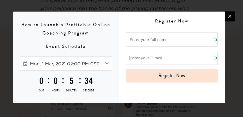 Screenshot of a registration page for an online coaching program seminar