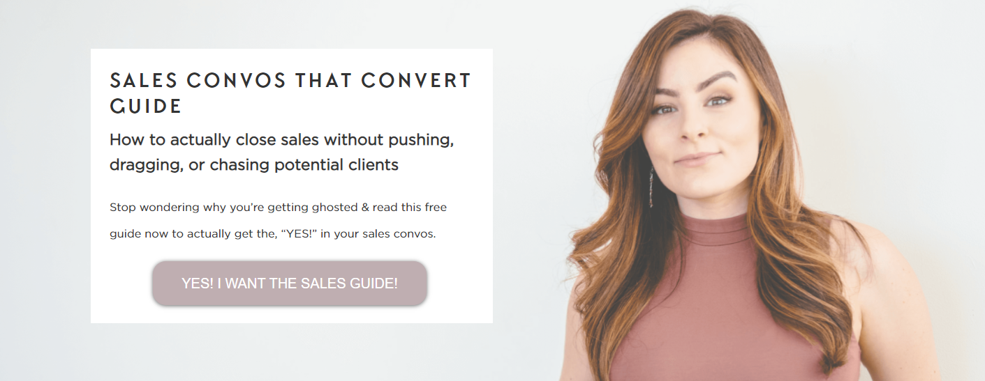 Screenshot of the Sales Convos That Convert Guide lead magnet landing page