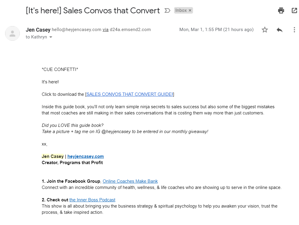 Screenshot of an automated email from Jen Casey sending the link to the guide