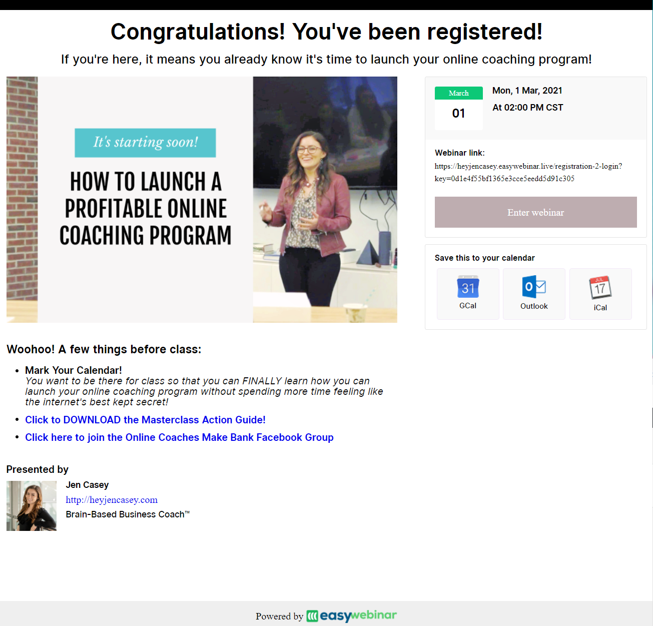 Screenshot of a registration confirmation page for an online coaching seminar