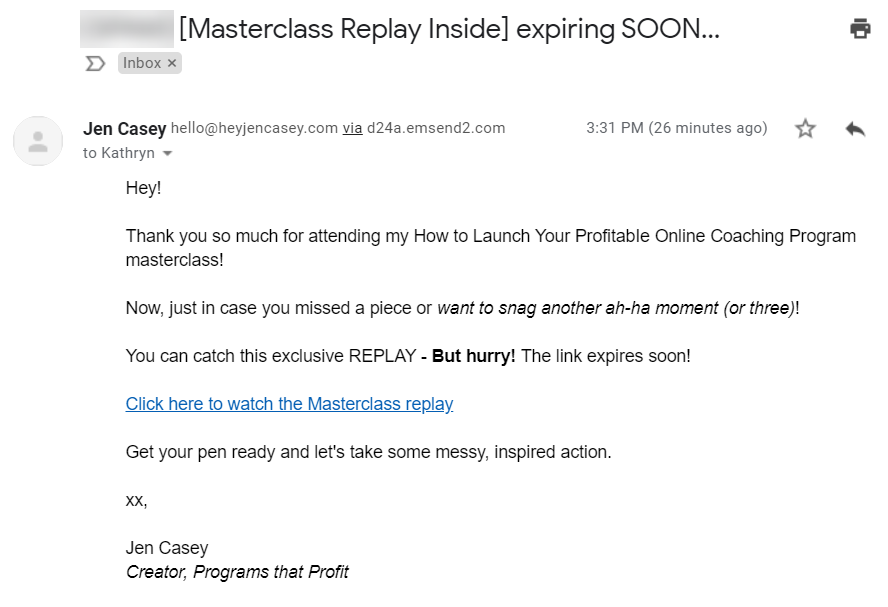 Screenshot of an automated email from Jen Casey's sequence