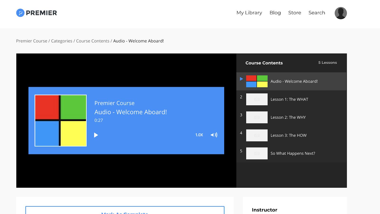 Example of an audio course on Kajabi with 5 episodes