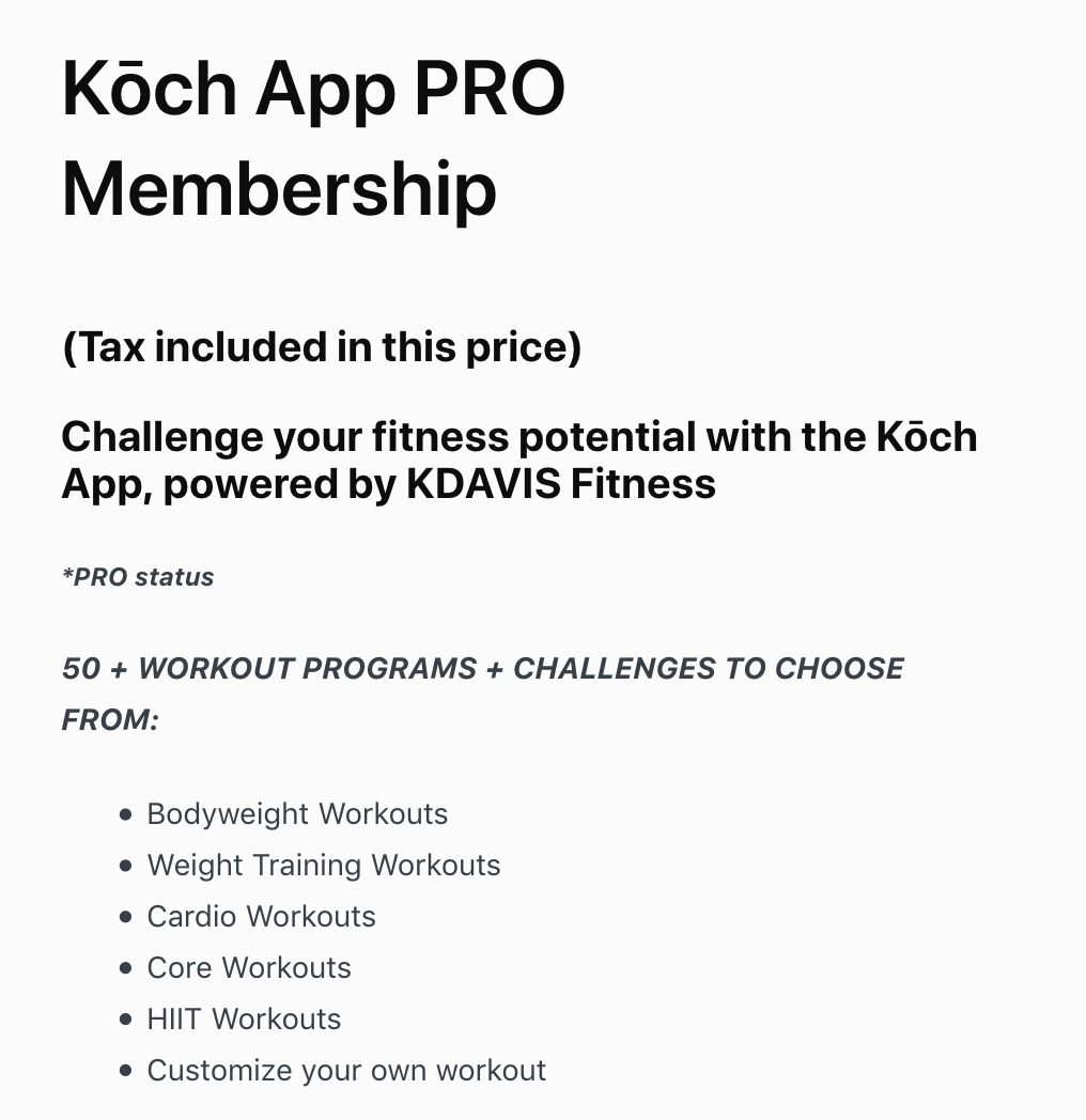 Screenshot of sales copy for the Koch App PRO Membership