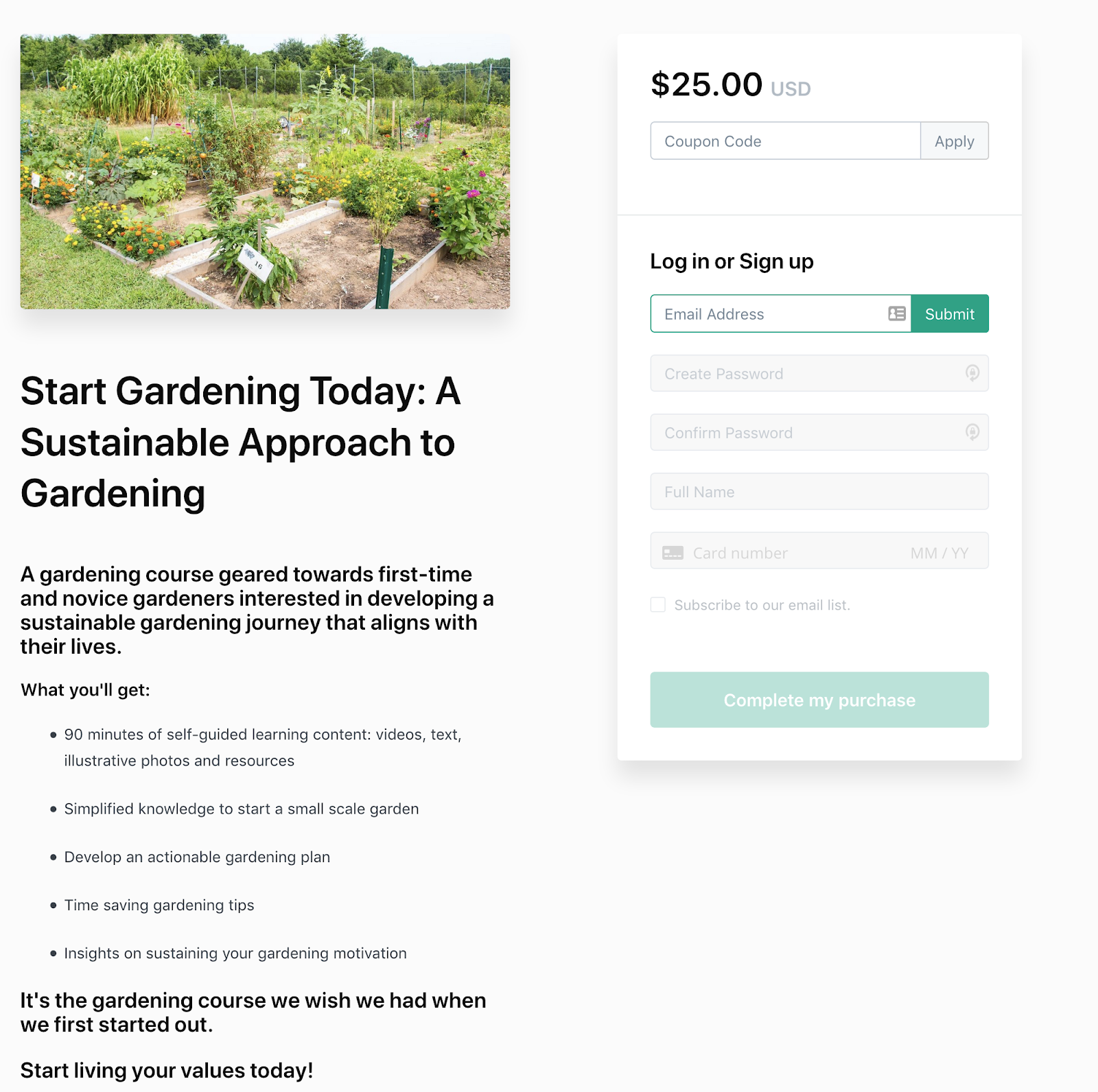 Screenshot of a modern sales page promoting a sustainable gardening course