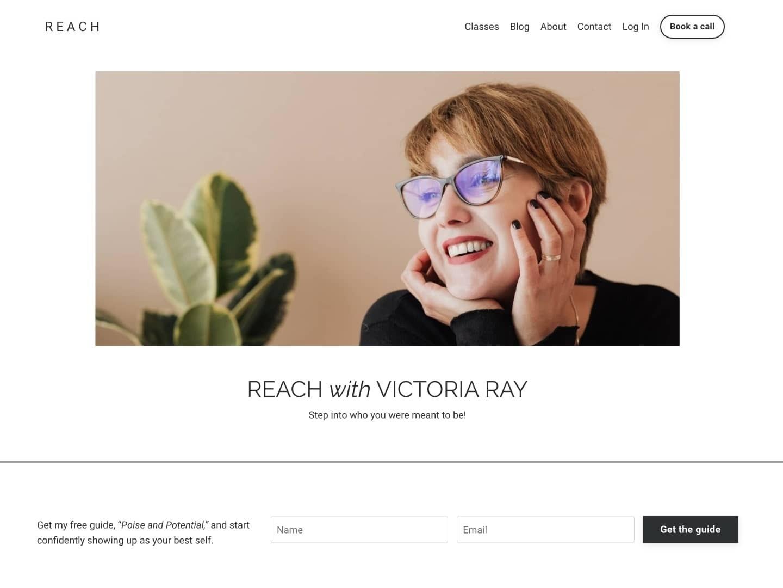 Screenshot of the Reach Kajabi website template