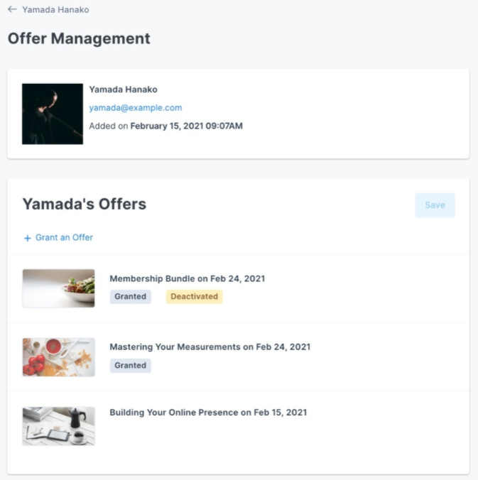 Screenshot of the Offer Management page within Kajabi