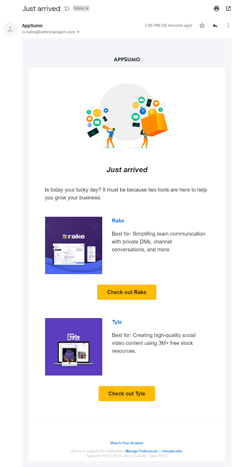 Marketing email from Appsumo