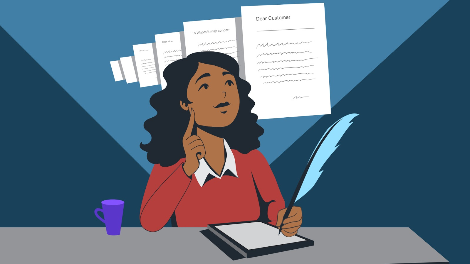Illustration of a woman using a tablet to draft an email newsletter on a blue background