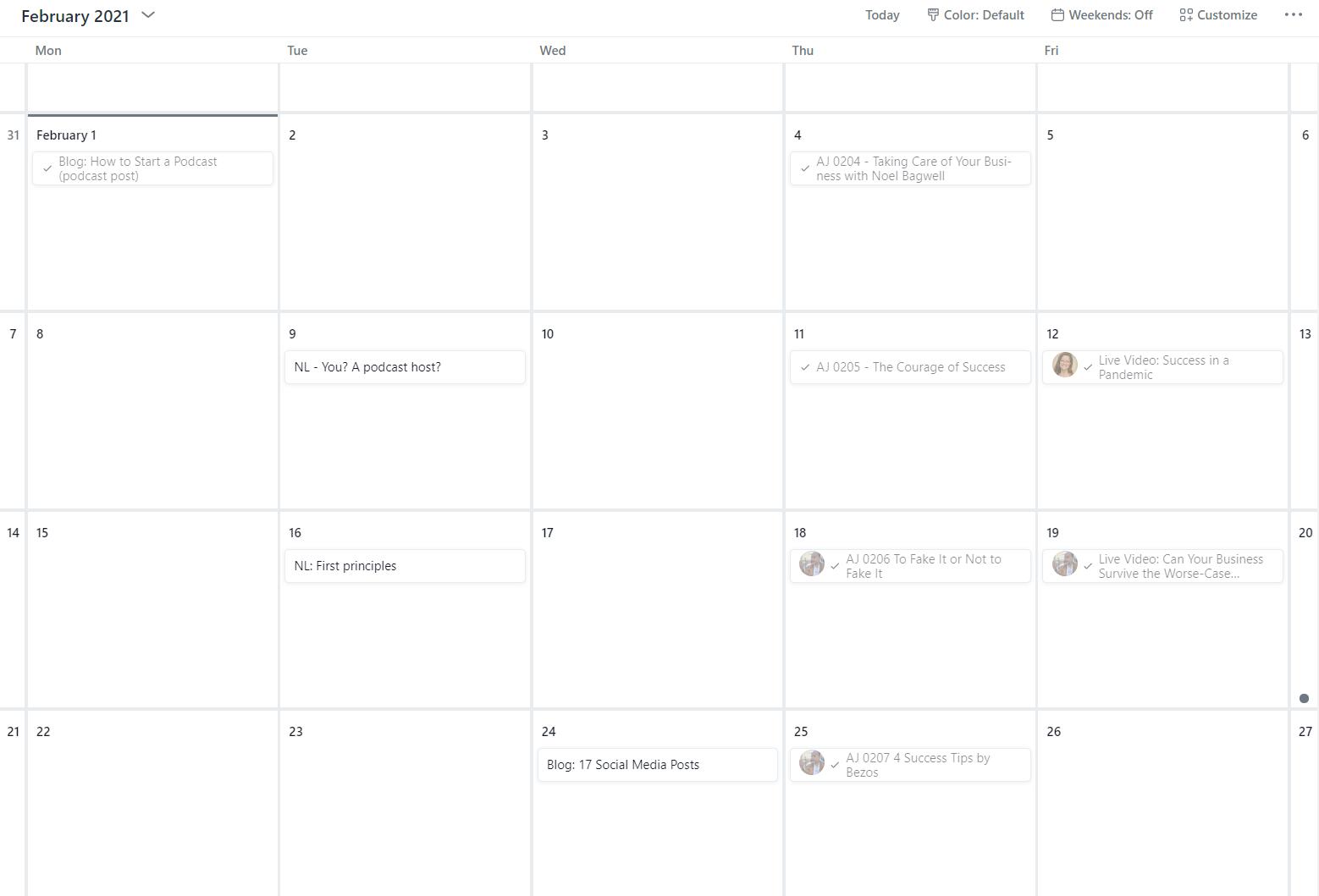 screenshot of an editorial calendar built in Asana