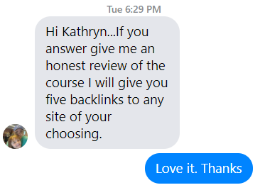 Screenshot of a digital message between Matt and a potential client of his digital product