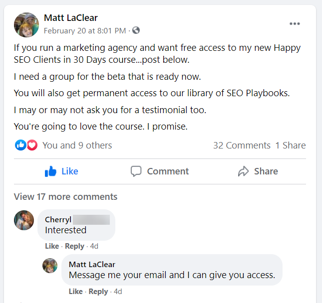 Screenshot of a Facebook post from Matt LaClear offering is Happy SEO Clients in 30 Days course