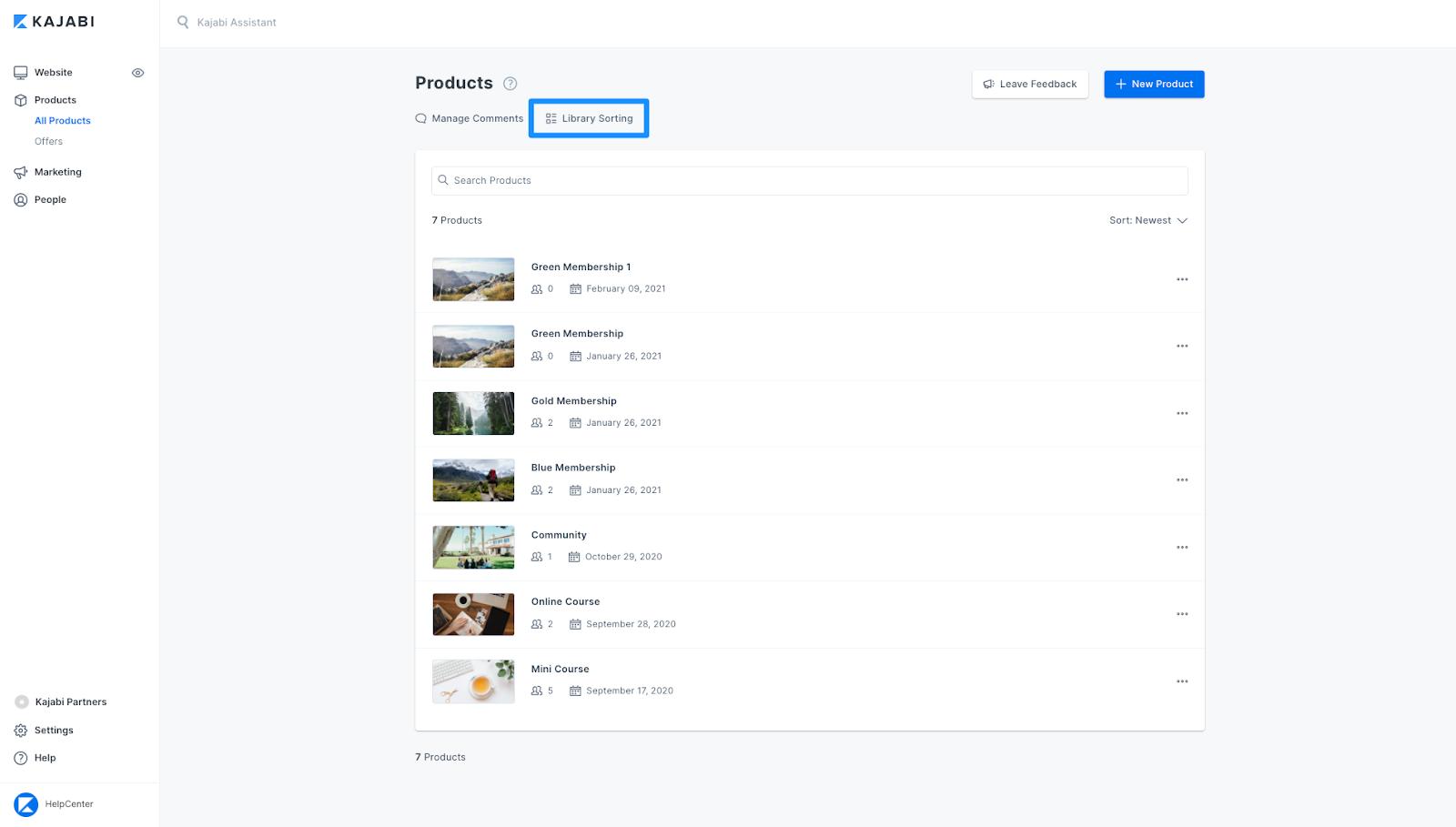 Screenshot of the Kajabi Labs Library Sorting product page