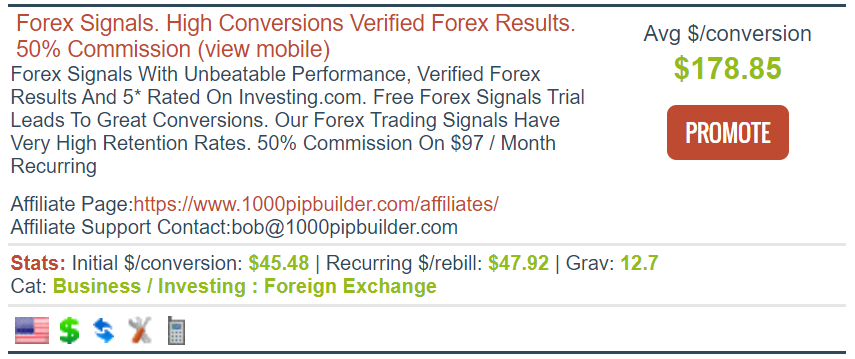 Screenshot of a Clickbank offering for Forex Signals