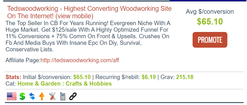 Screenshot of a Clickbank affiliate marketing offering for Tedswoodworking