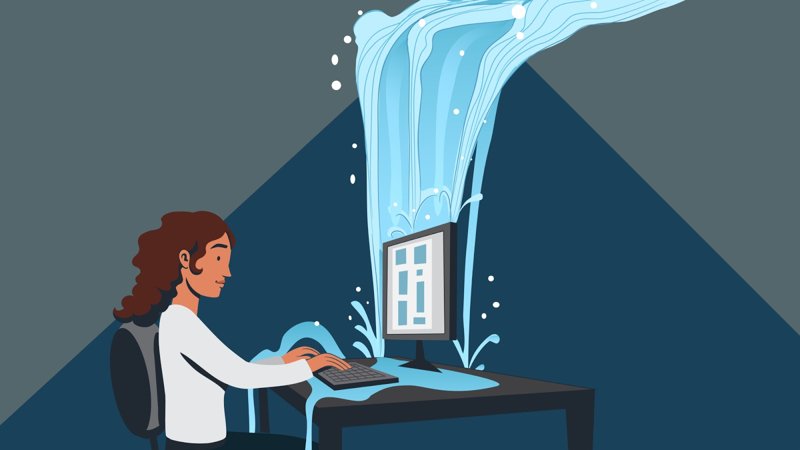 Illustration of a person at a computer with a rush of water coming in to represent income from affiliate marketing