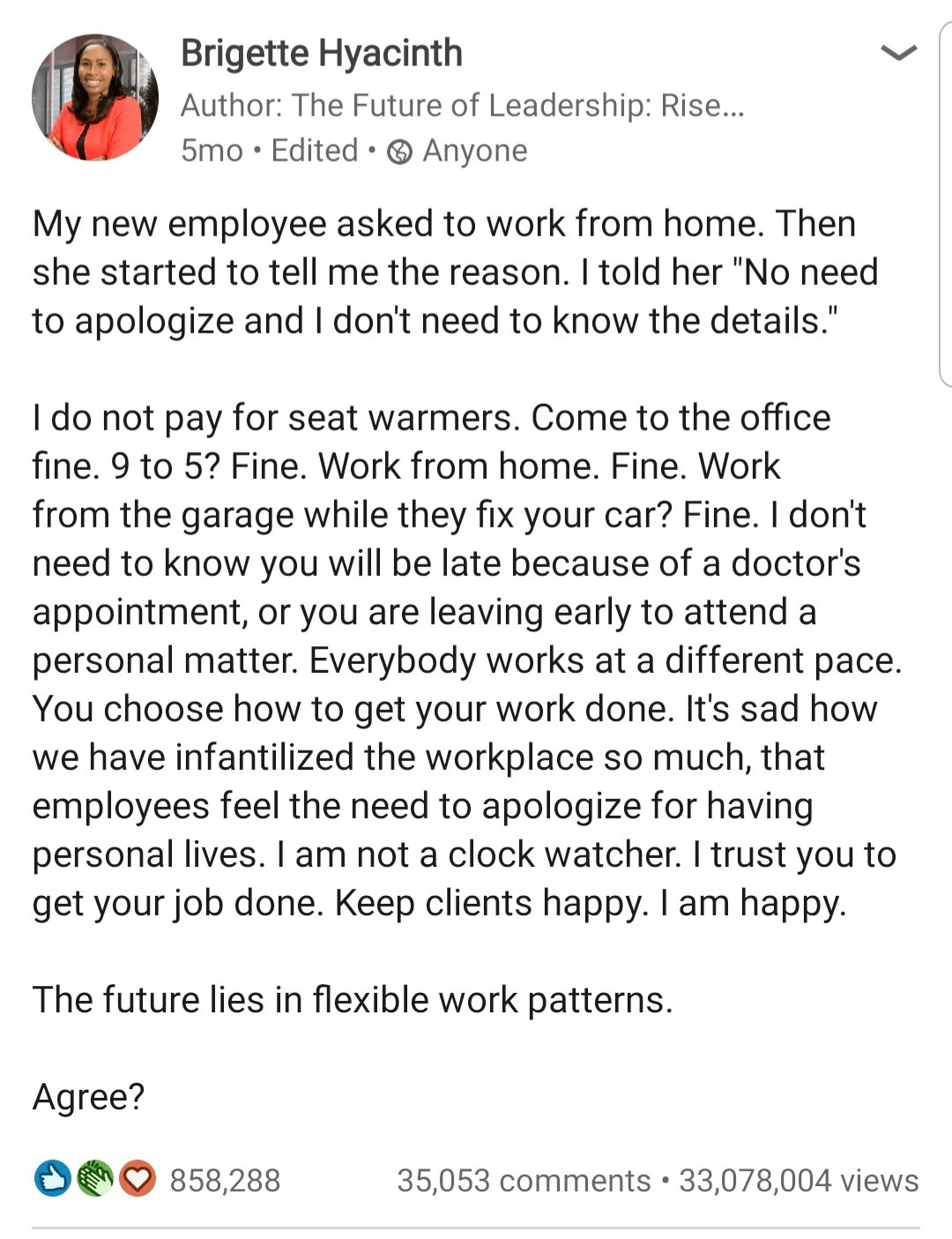 Screenshot of a LinkedIn post from Brigette Hyacinth detailing management with millions of views