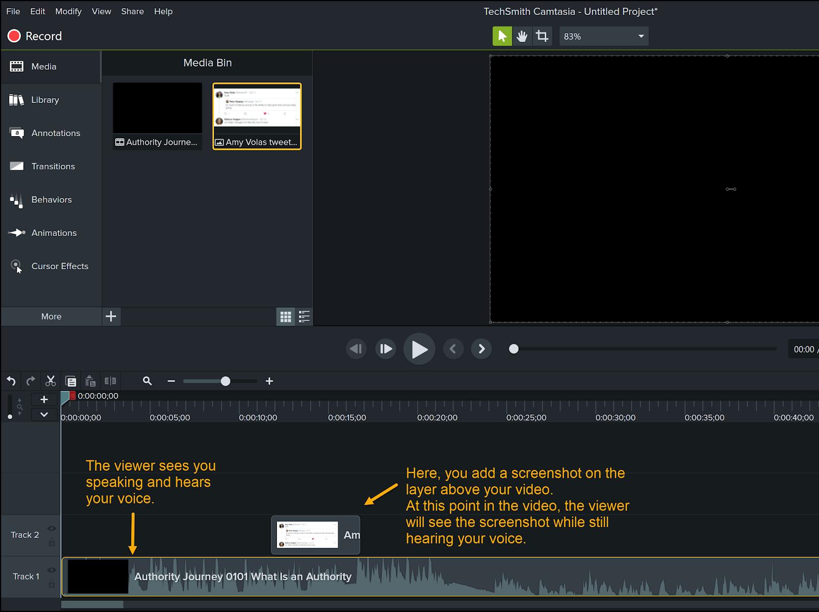 Screenshot of Camtasia software
