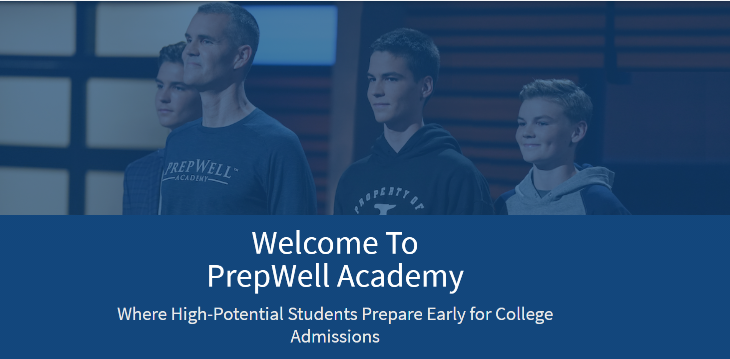 Screenshot of the PrepWell Academy website; photo features one an and three teenage boys