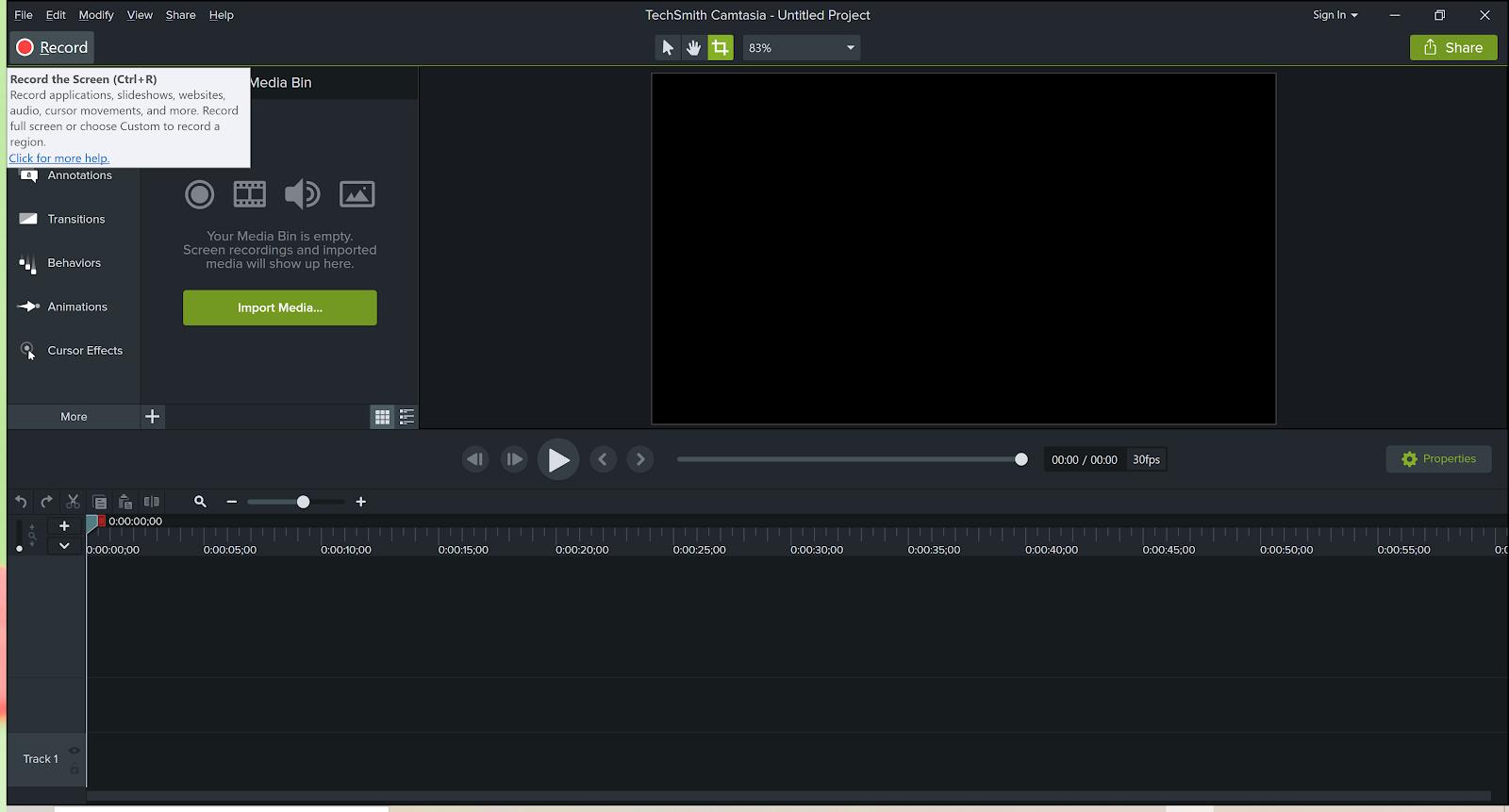 Screenshot of Camtasia screen capture software