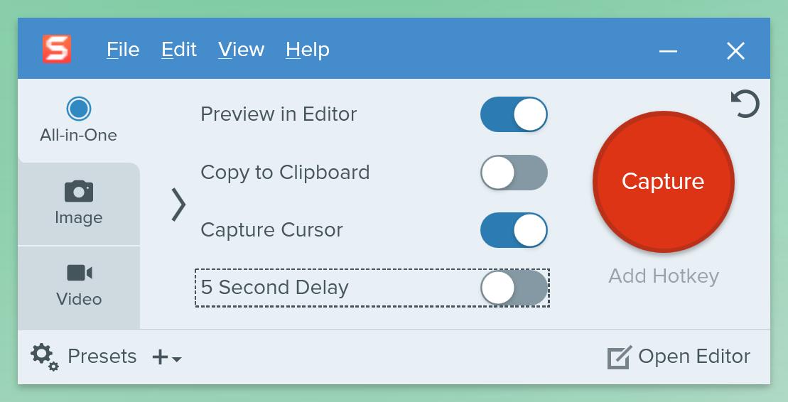 Screenshot of Snagit software