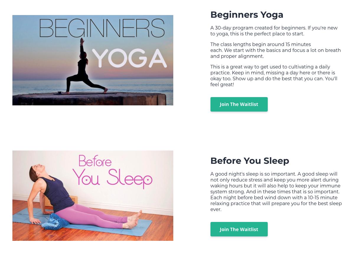 Screenshot  of My Yoga Pal website