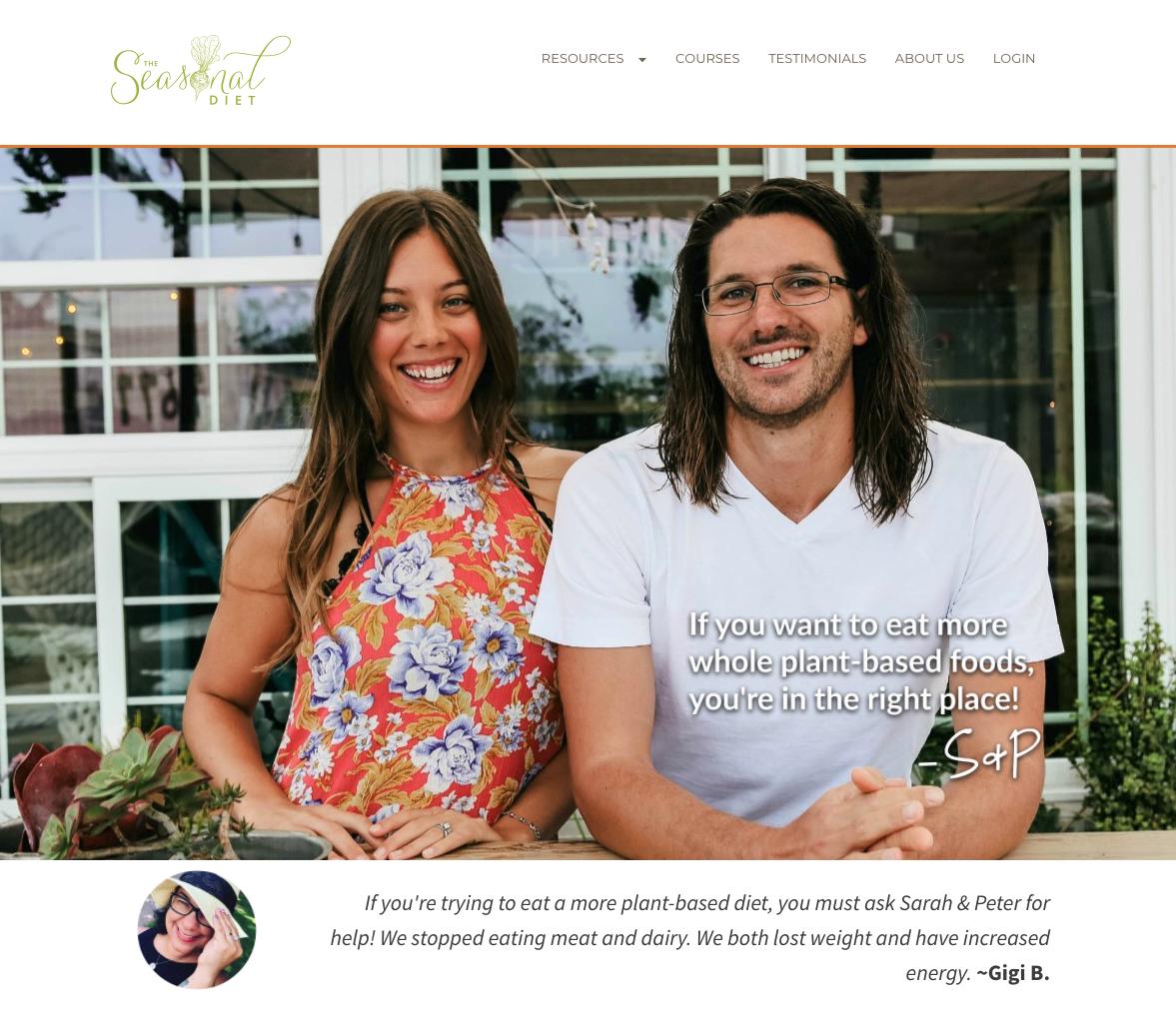 Screenshot of The Seasonal Diet website