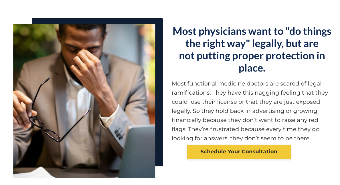 Screenshot of the Functional Lawyer's website ad offering to schedule a consultation