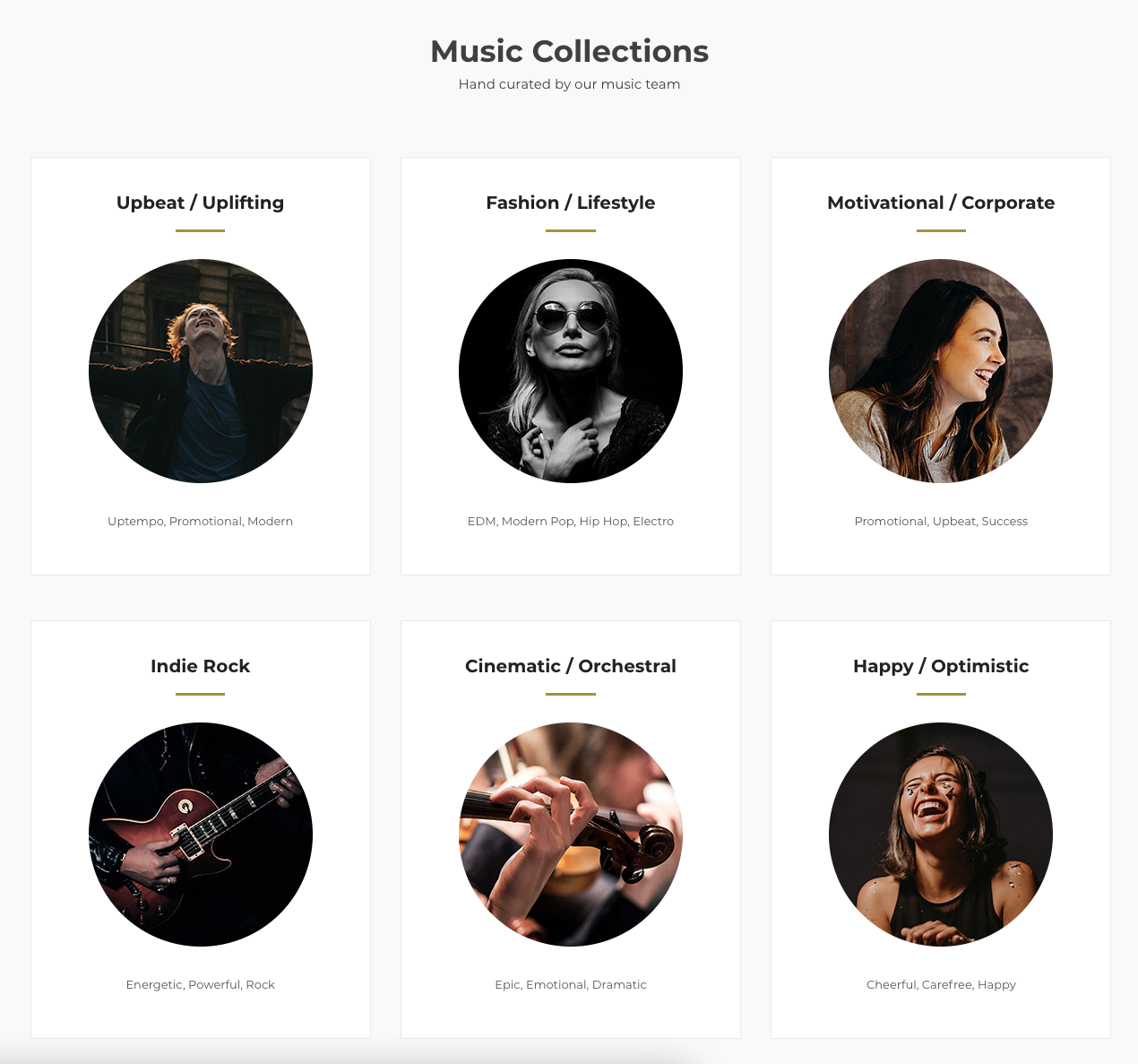 screenshot of the Foximusic website showcasing six hand-curated music collections