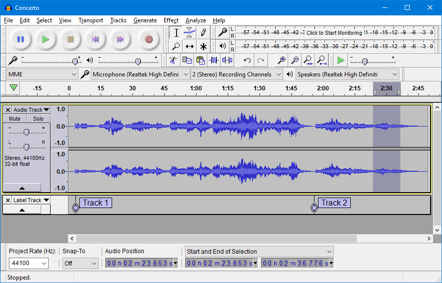 Screenshot of the Audacity music editing software