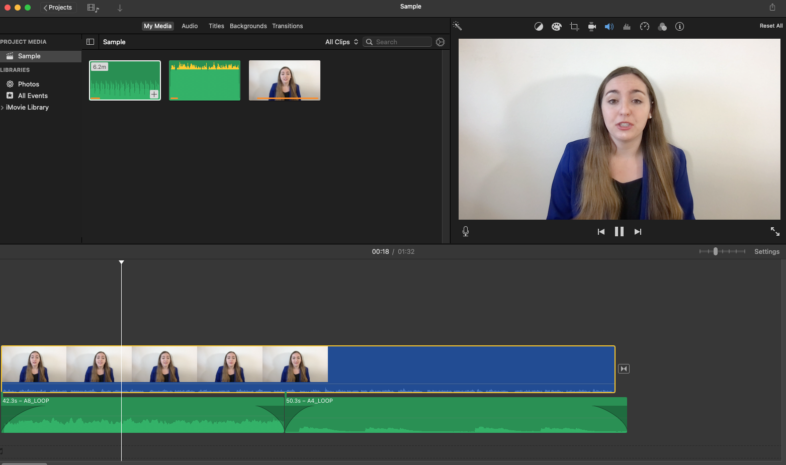 Screenshot of iMovie working on a video project with multiple audio clips and a video clip