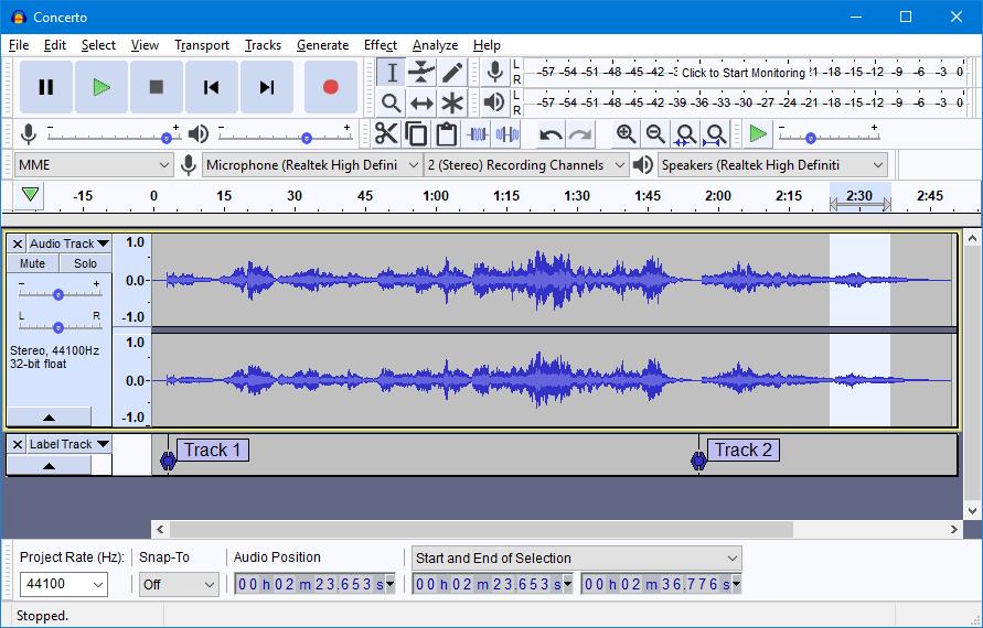 Screenshot of the Audacity software program