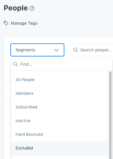 Screenshot of the Kajabi app showing  a new Excluded default segment in the People tab