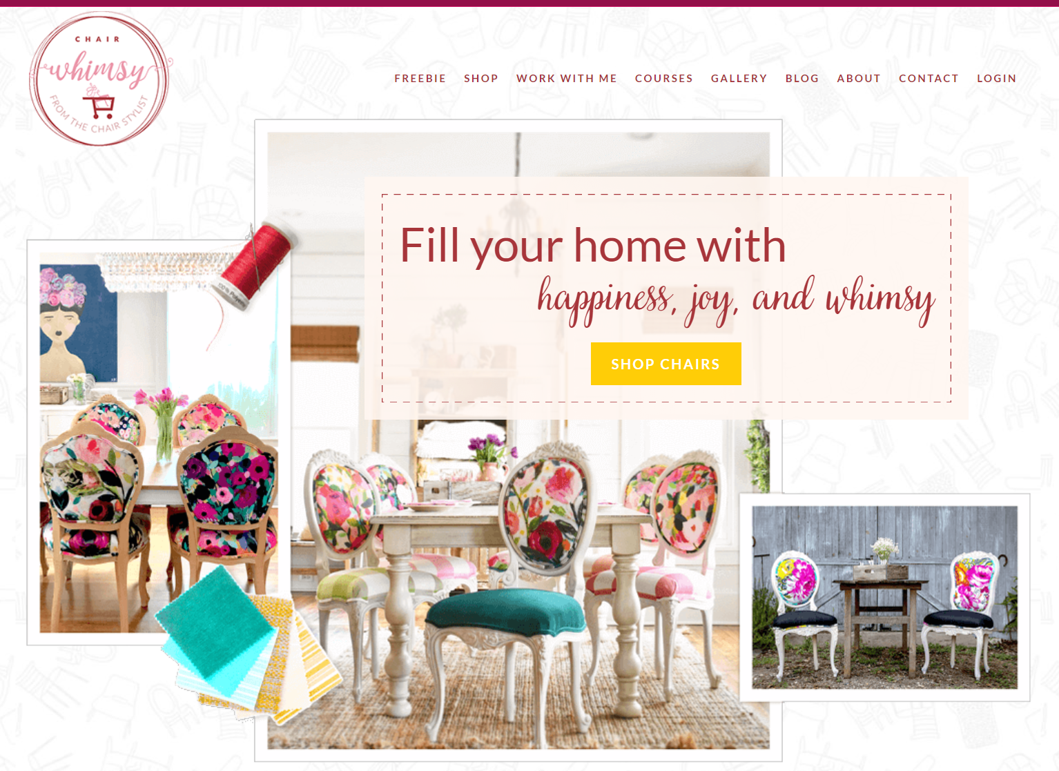 Screenshot of the Chair Whimsy website with a banner saying Fill Your home with happiness, joy, and whimsy