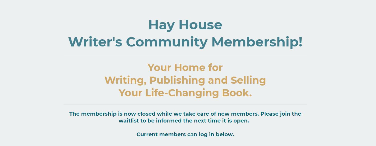 Screenshot of the Hay House Writer's Community Membership website