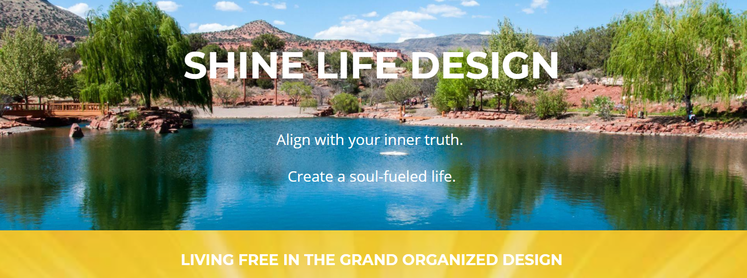 Screenshot of Shine Life Design website featuring an image of a lake