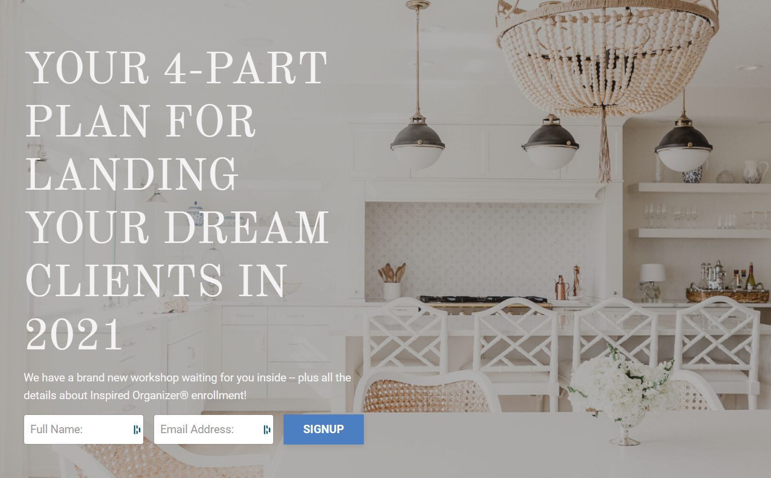 """Screenshot of a landing page for """"your 4-part plan for landing your dream clients in 2021"""""""