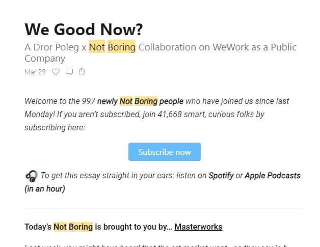 Screenshot of Not Boring newsletter promotion
