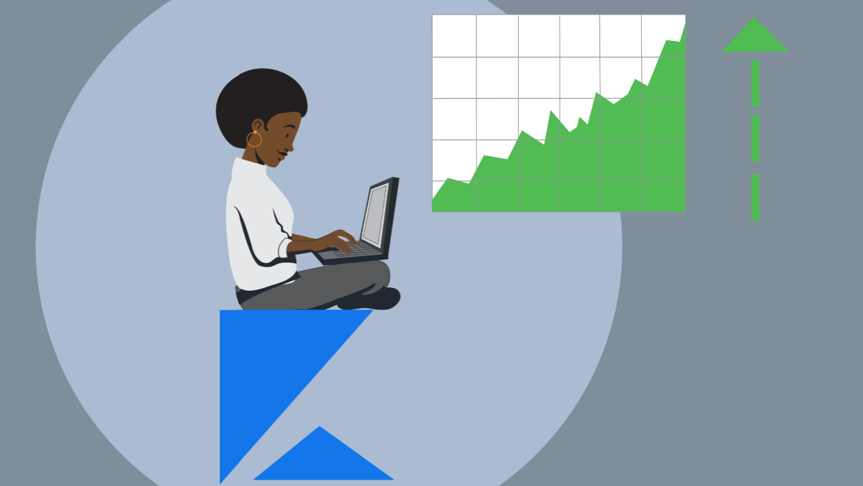Illustration of a Black woman on a gray background with a laptop and chart representing increased sales