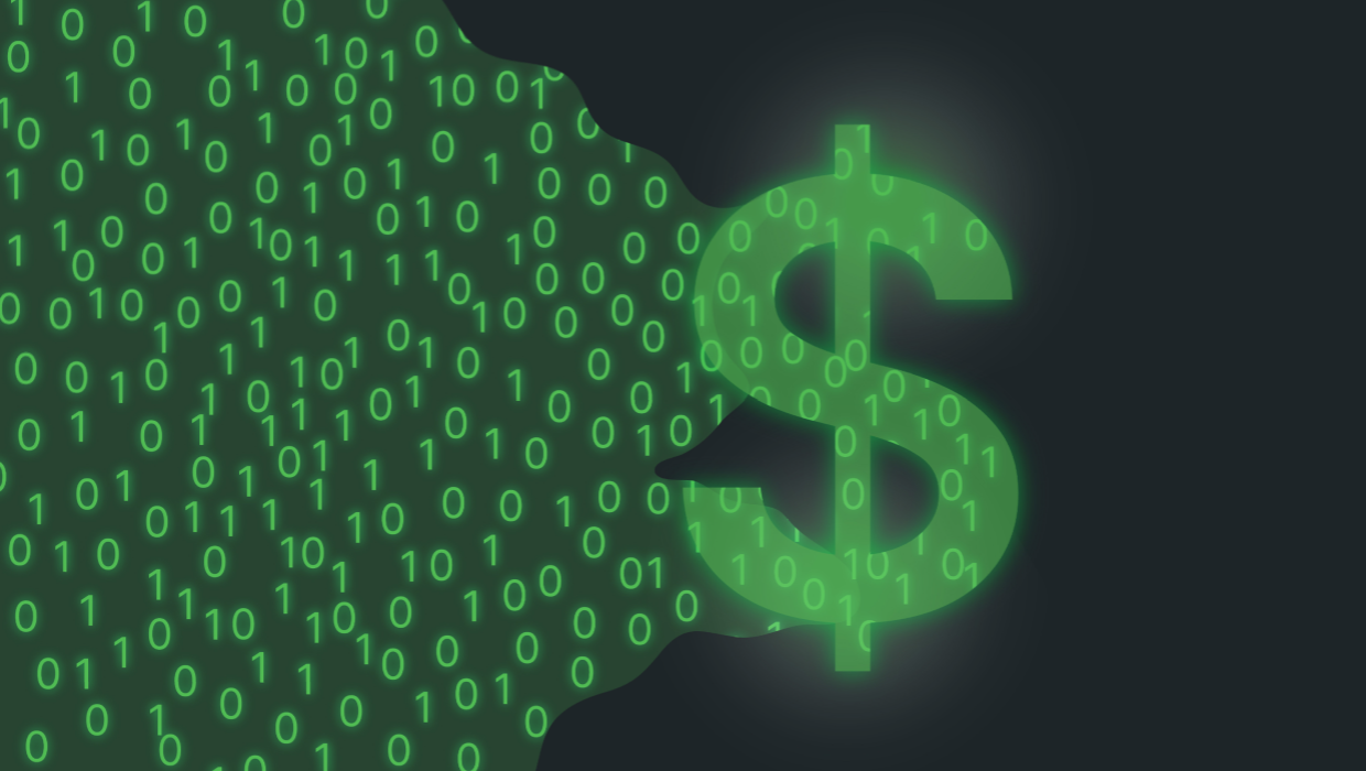 Illustration of a dollar sign in green with 0 and 1 to represent digital marketing