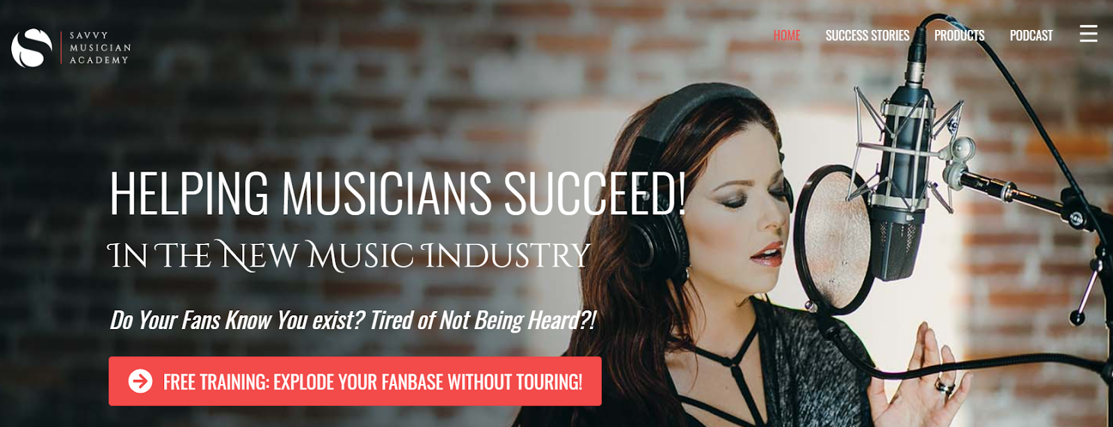 Screenshot of the Savvy Musician Academy website with a photo of a young woman singing