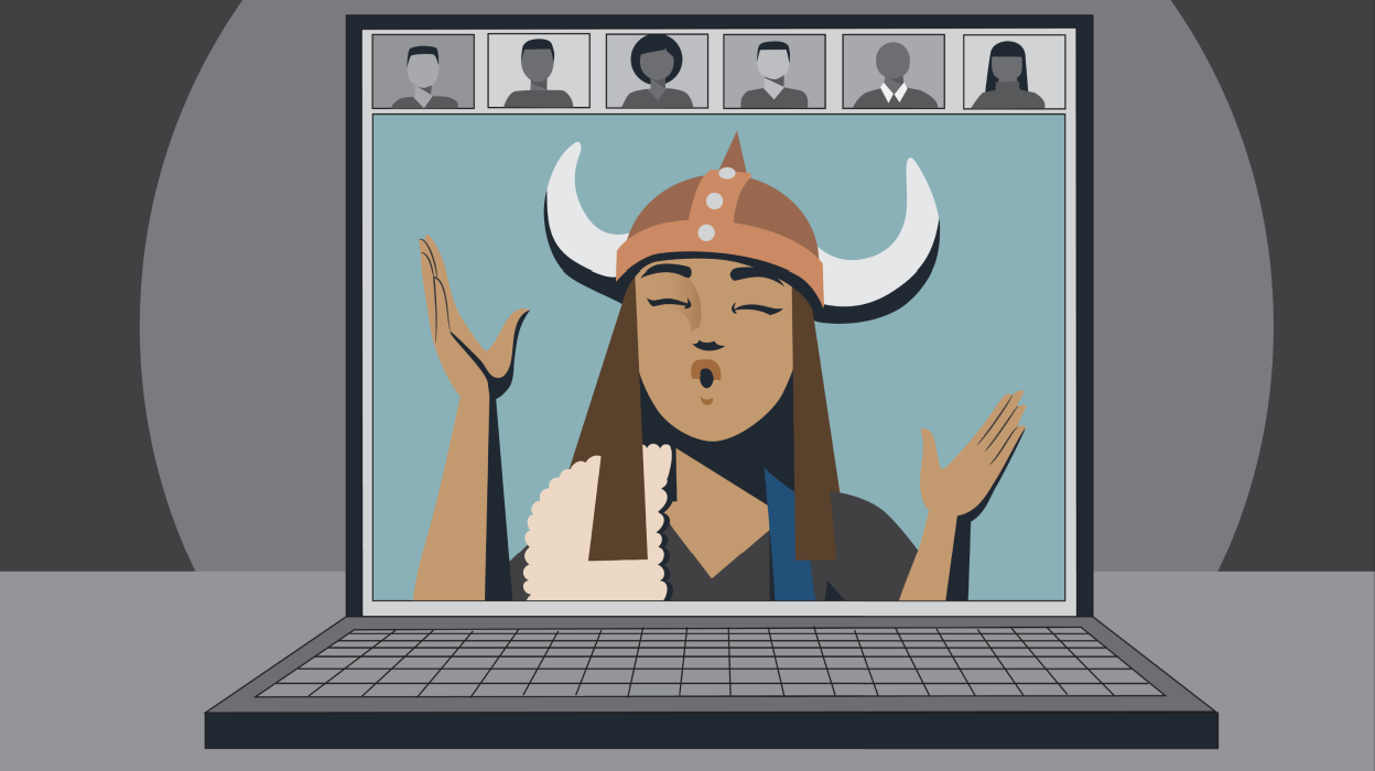 Illustration of a person with a viking hat leading a video conferencing call on a laptop
