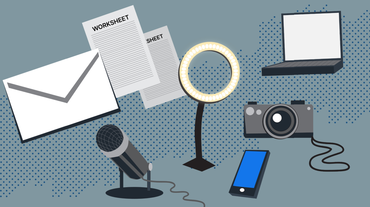 Illustration of an envelope, worksheet, microphone, ring light, cell phone, camera, and laptop on a gray background