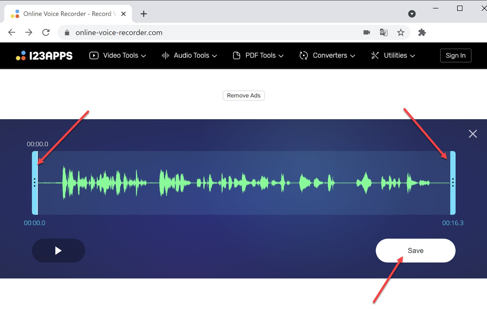 Screenshot of Online Voice Recorder audio editing capabilities