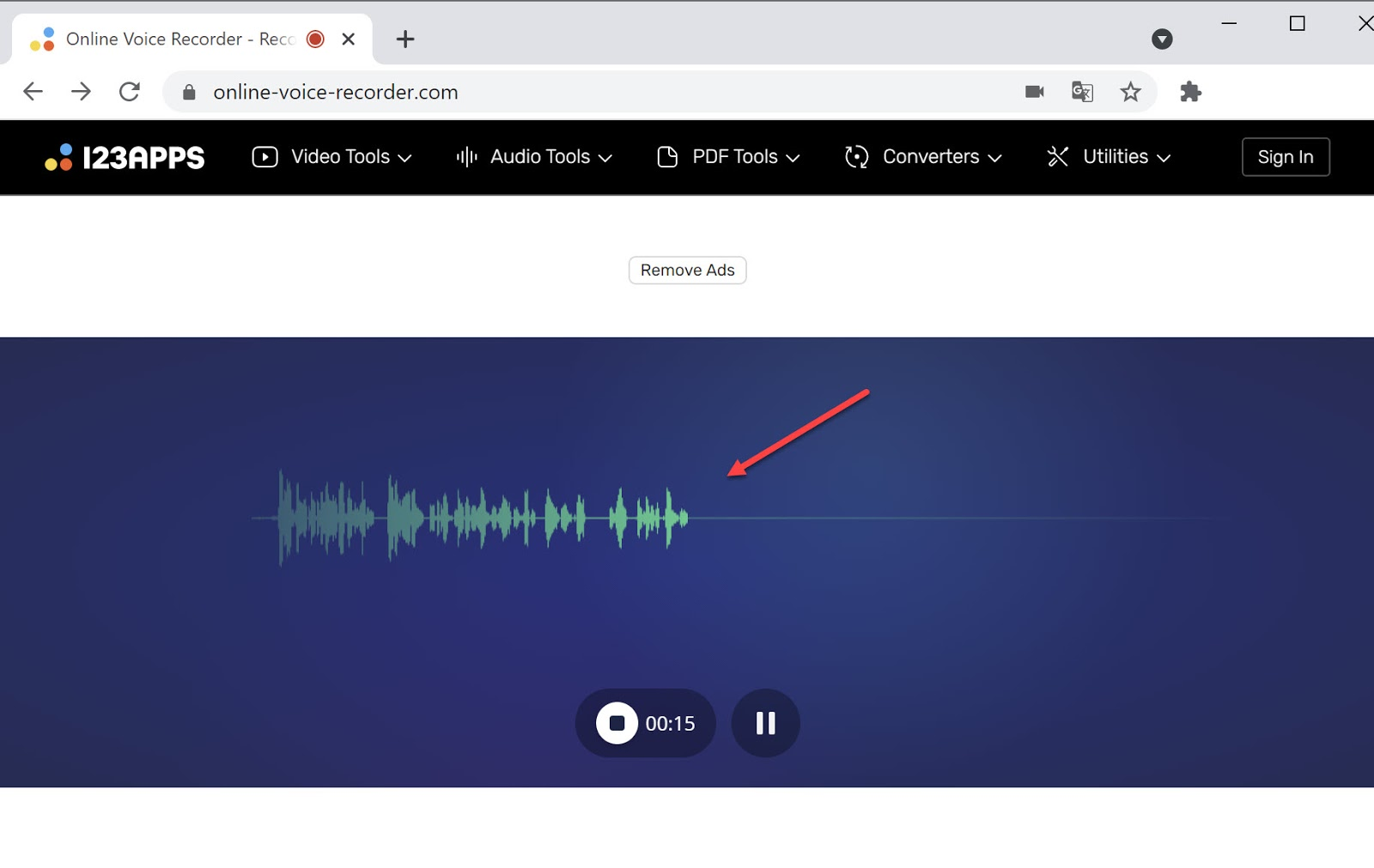 Screenshot of using Online Voice recorder to trim audio