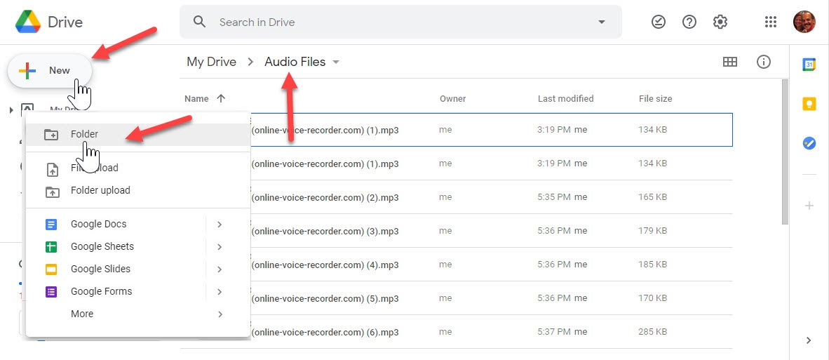Screenshot of how to upload audio files to Google Drive