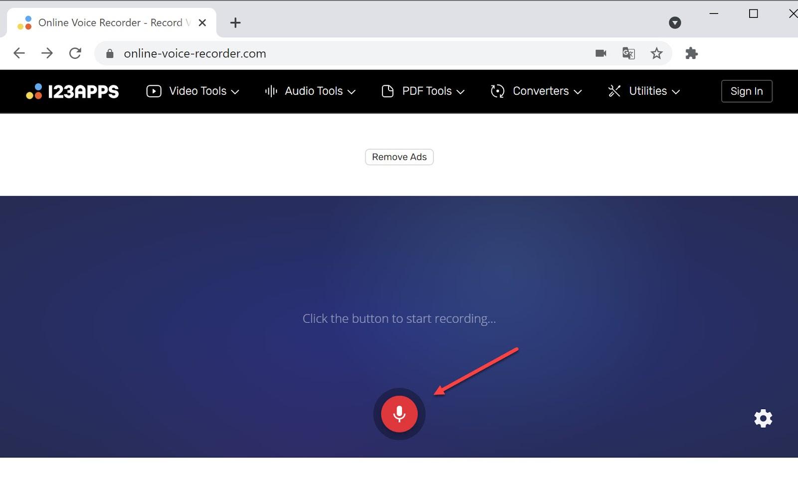Screenshot of the Online Voice Recorder website