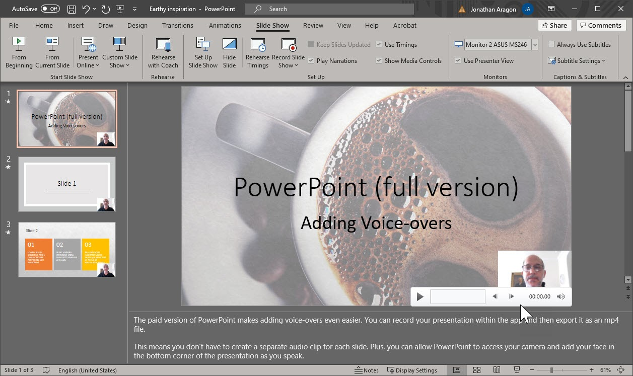 Editing a recorded PowerPoint presentation