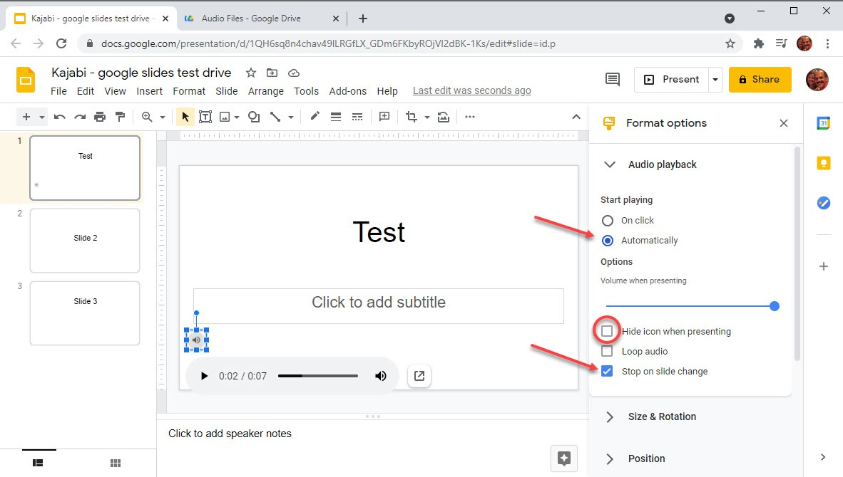 Screenshot of how to upload audio files to a Google Slide presentation
